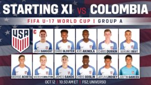 USA 1 - Colombia 3 (group stage) 10/12/17
